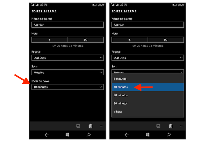 Configurando o tempo de repetição do alarme configurado no Windows 10 Mobile (Foto: Reprodução/Marvin Costa)