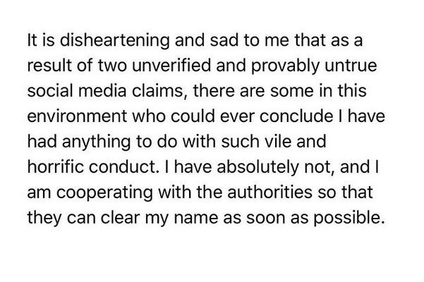 Uma das declarações de Ed Westwick negando as acusações de estupro (Foto: Instagram)