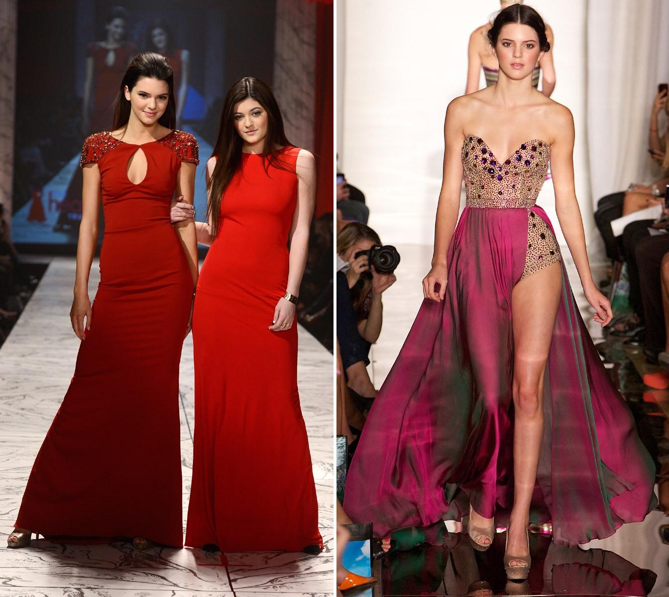 Kendall Jenner nos primeiros desfiles da carreira: ao lado da irmã Kylie em desfile beneficente de 2013 e na apresentação de Sherri Hill em 2012 (Foto: Getty Images)