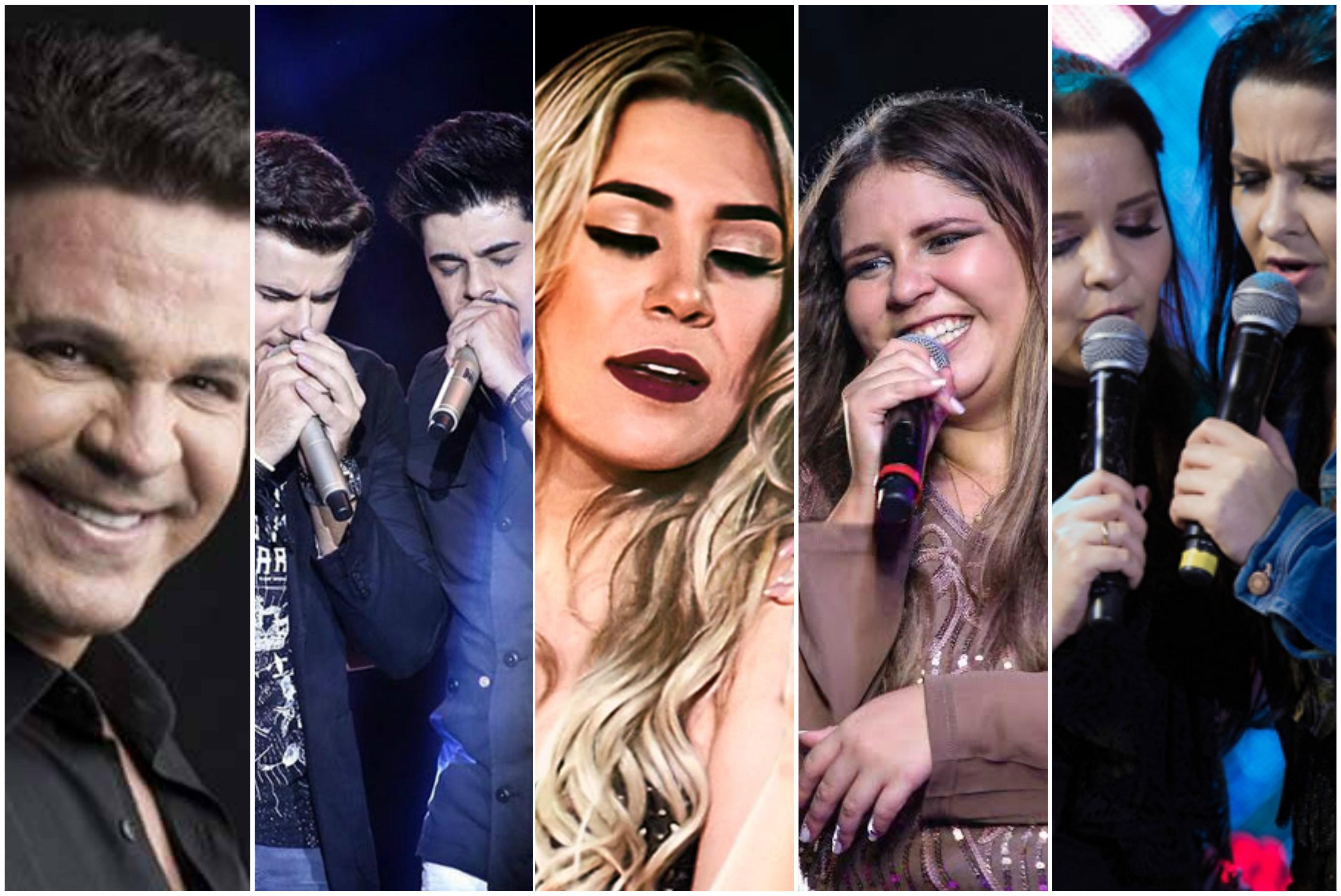 Os cantores das cinco msicas mais ouvidas do Brasil em 2016: Eduardo Costa, Z Neto e Cristiano, Naiara Azevedo, Marlia Mendona e Maiara e Maraisa (Foto: Divulgao)