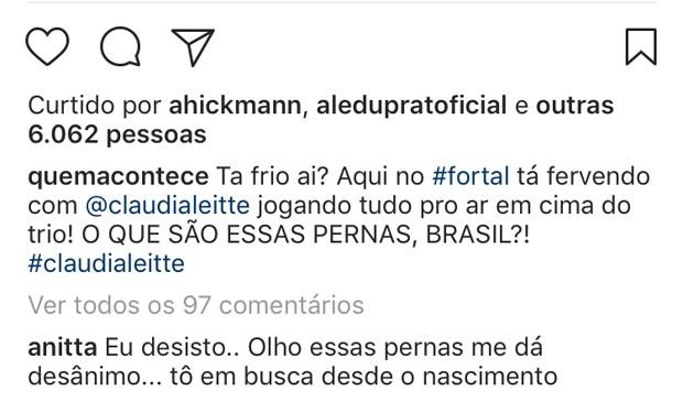 Comentário de Anitta (Foto: Reprodução)