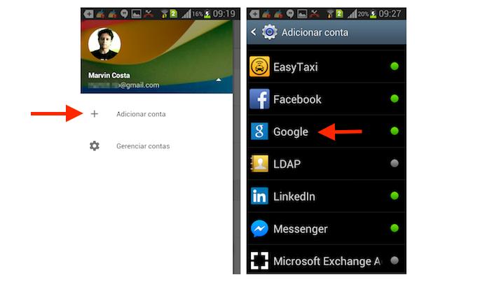 Iniciando o processo para adicionar uma segunda conta do Google Drive no Android  (Foto: Reprodução/Marvin Costa)