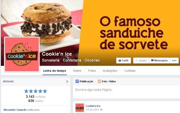 A loja de sanduíches Cookie'n Ice é um exemplo de empresa que usa uma fan page para começar a comunicação com seus clientes  (Foto: Reprodução)