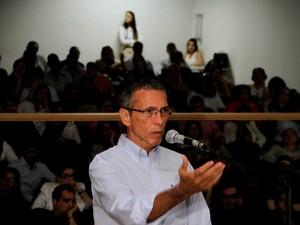 João Arcanjo Ribeiro durante julgamento iniciado nesta quinta-feira (24) em Cuiabá pela morte do empresário Sávio Brandão, ocorrida em 2002. (Foto: Assessoria / TJMT)