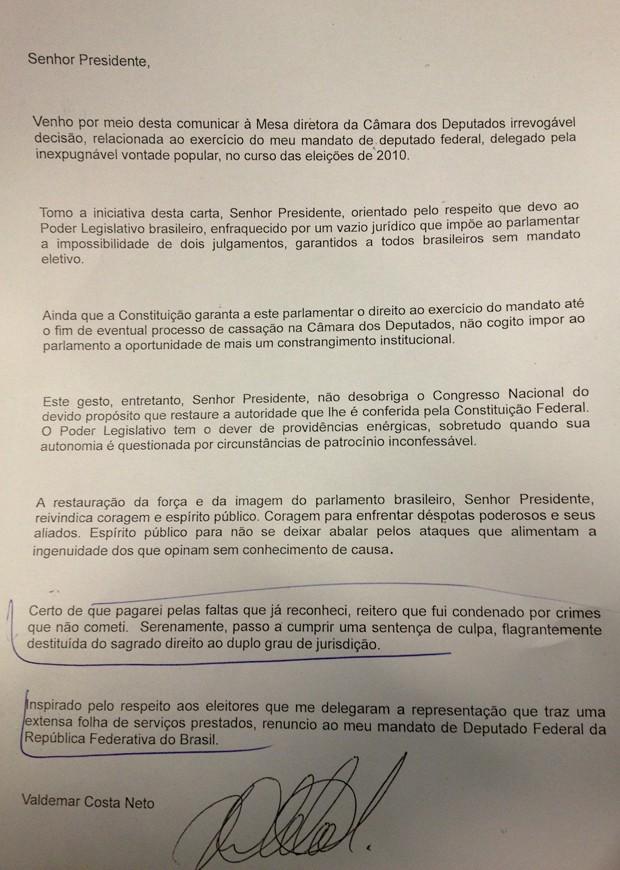A carta de renúncia do deputado Valdemar Costa Neto (PR) (Foto: Reprodução)