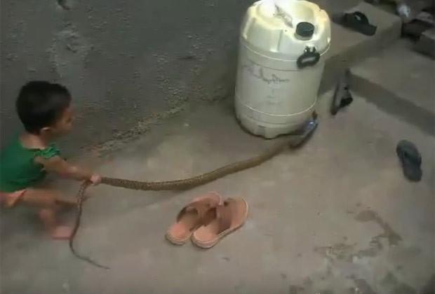 Criança foi filmada brincando com cobra enorme (Foto: Reprodução/YouTube/Dmax)