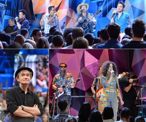 Os três palcos de show do Altas Horas agora estão suspensos por trás das arquibancadas (Foto: Zé Paulo Cardeal/Globo)