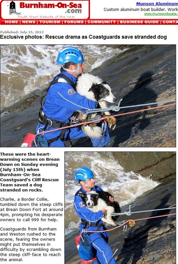 Equipe de resgate usou equipamento usado para escalar para resgatar cão na Inglaterra (Foto: Reprodução)
