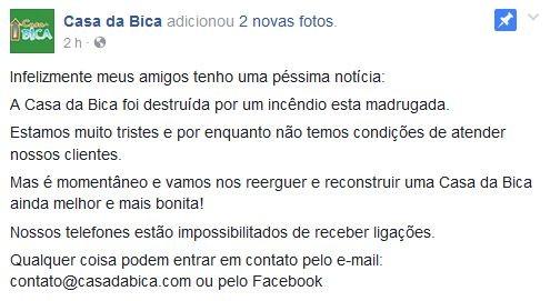 Restaurante Casa da Bica deixa mensagem em rede social, no ES (Foto: Divulgação/ Casa da Bica)