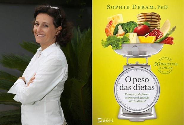 A nutricionista e a capa do seu livro, lançado em novembro, em que condena as dietas como forma de perder peso (Foto: Divulgação)