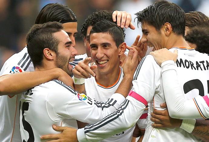 Comemoração do Real Madrid contra o Malaga (Foto: Agência AP)