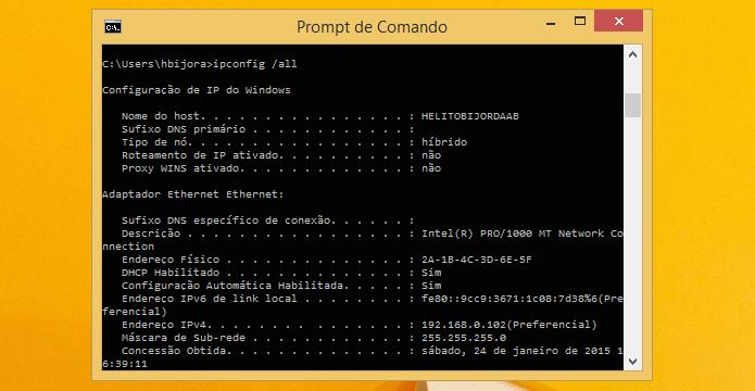 Verificando alteração do endereço MAC (Foto: Reprodução/Helito Bijora)