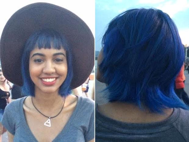 A cor favorita da estudante Ane Hellovick é azul. Ela levou esta paixão para os cabelos. (Foto: Cristina Boeckel/G1)
