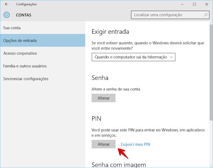 Alterando PIN do Windows 10 (Foto: Reprodução/Helito Bijora)