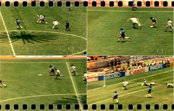 Lance do gol de Maradona contra a Inglaterra (Foto: Reprodução TV Globo)