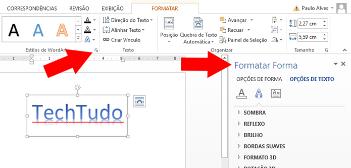 Abra as opções de formatação na lateral (Foto: Reprodução/Paulo Alves)