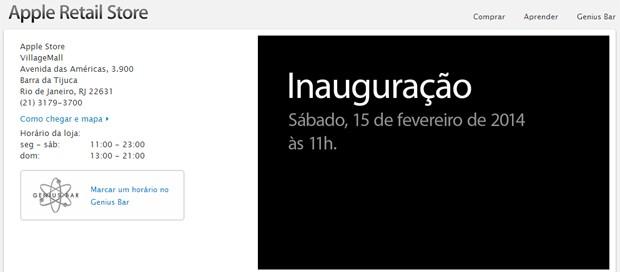Primeira Apple Store brasileira será inaugurada no dia 15 de fevereiro (Foto: Reprodução/Apple)
