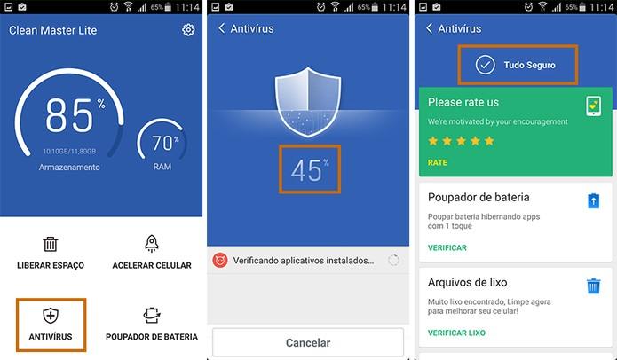 Use a ferramenta antivírus para checar a segurança do Android (Foto: Reprodução/Barbara Mannara)