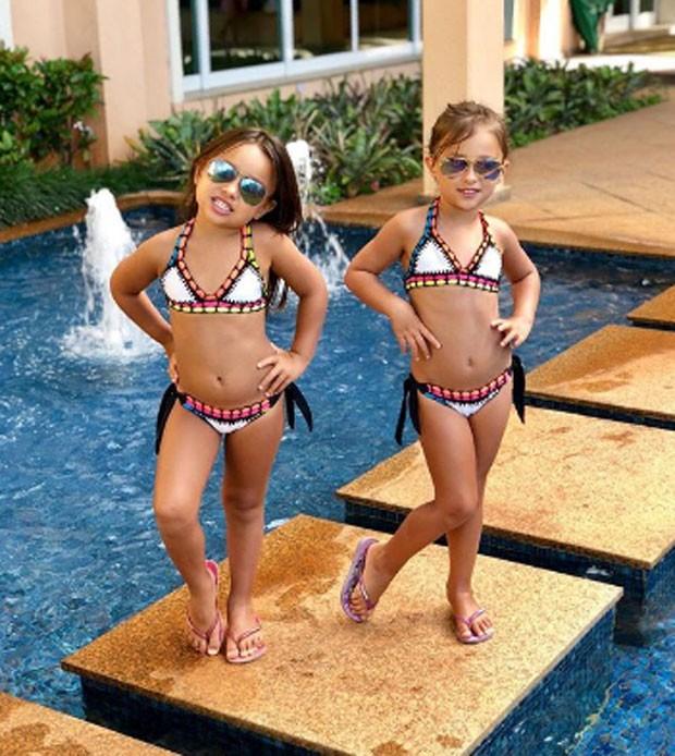 Maya e Kiara, filhas de Natália Guimarães e Leandro, do KLB (Foto: Reprodução)