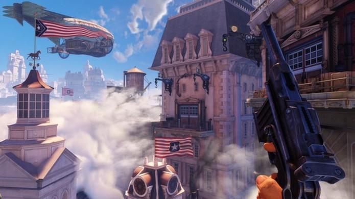 Do fundo do mar para os céus, a cidade de Columbia de BioShock Infinite é como a Rapture de um universo paralelo (Foto: Reprodução/Steam)