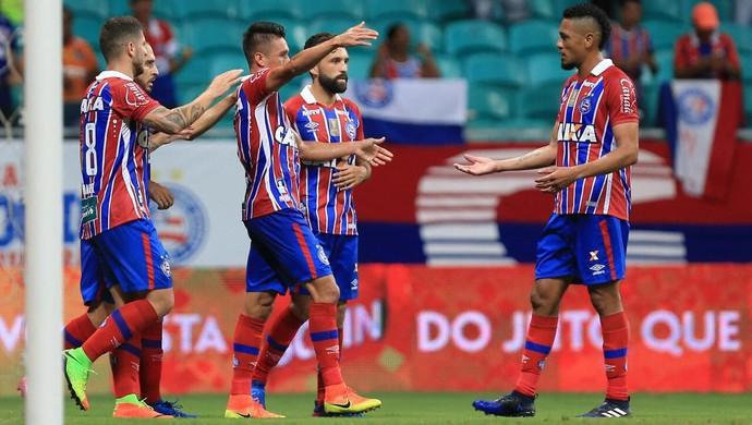 Bahia comemora gol contra o Fortaleza (Foto  Felipe Oliveira   Divulgação    E.C. Bahia b04af93dfc093