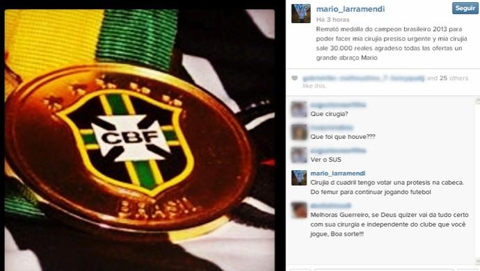 mario larramendi coloca medalha a venda (Foto: Reprodução / Instagram)
