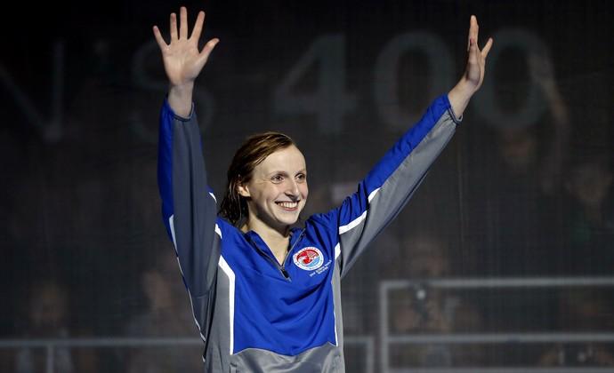 seletiva olímpico americana - Katie Ledecky comemora a classificação para a Rio 2016 (Foto: Erich Schlegel / USA Today / Reuters)