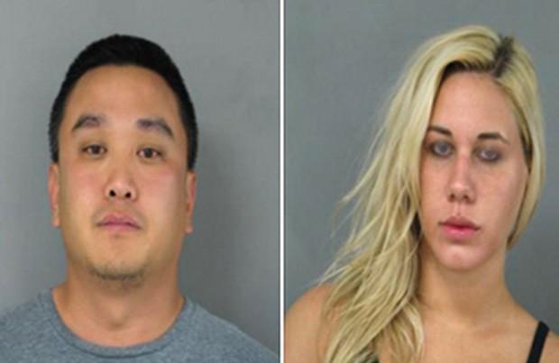 Michael Suh e Nicole Germack foram presos ao serem flagrados durante ato sexual no telhado de restaurante mexicano nos EUA (Foto: Divulgação/Newark Police Department)