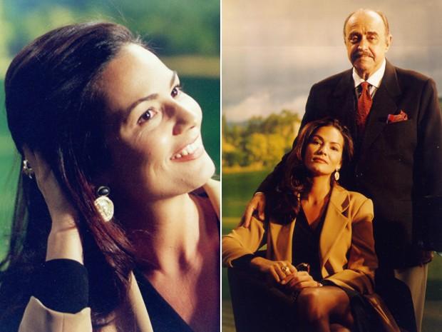 Luiza Brunet em diferentes momentos como Tereza e ao lado de Mauro Mendonça (Foto: CEDOC / TV Globo)