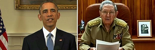 Barack Obama e Raul Castro falaram simultaneamente sobre as mudanças nas relações entre Estados Unidos e Cuba (Foto: Reprodução/GloboNews)