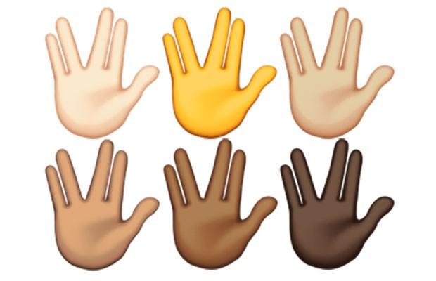 Imagens dos vários emojis da saudação do Spock, de 'Jornada nas Estrelas', já com os vários tons de cor. (Foto: Divulgação/Emojipedia)