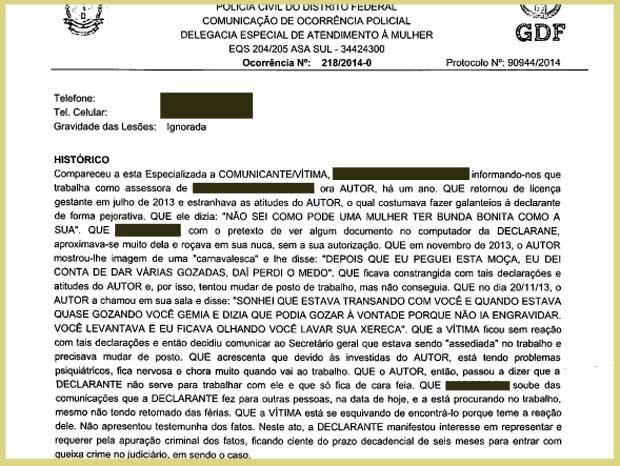 Trecho do boletim de ocorrência em que assessora denuncia subsecretário do GDF (Foto: PCDF/Reprodução)