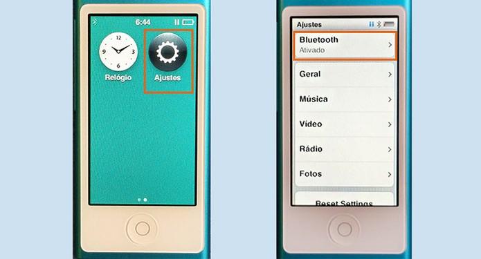 Encontre o menu de Bluetooth nos Ajustes do iPod (Foto: Reprodução/Barbara Mannara)