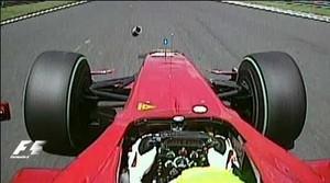 Felipe Massa foi atingido por mola em treino para GP da Hungria de 2009 (Foto: Reprodução)