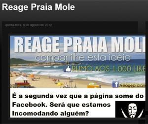 Blog diz que página do 'Reage Praia Mole' já foi suspensa duas vezes (Foto: Reprodução)