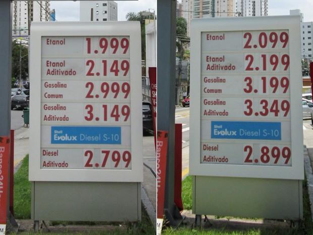 Na rua Emília Marengo, no Tatuapé, Zona Leste, o etanol aumentou R$ 0,10 de sexta para segunda. Já a gasolina teve alta de R$ 0,20.  (Foto: Karina Trevizan/G1)