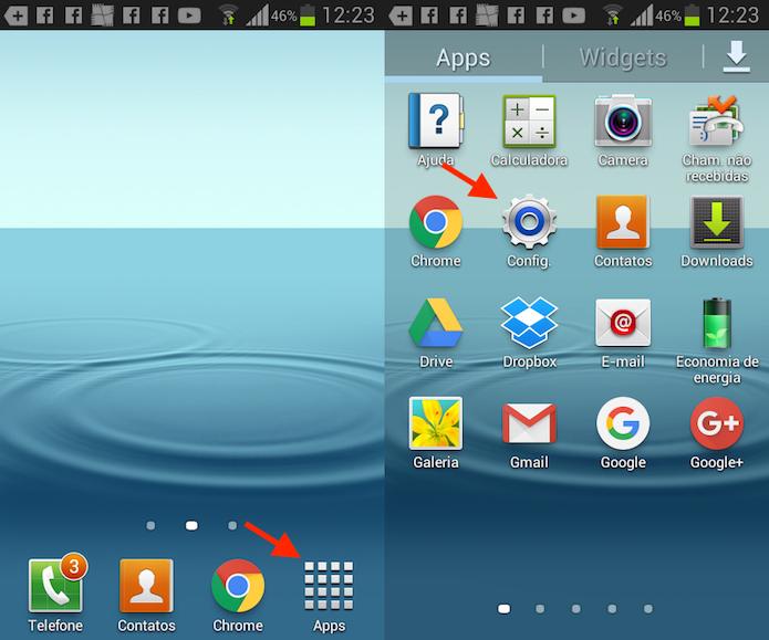 Caminho para acessar as configurações do Android no Galaxy Wins Duos (Foto: Reprodução/Marvin Costa)
