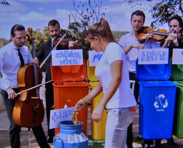 Família Lima fez ação de incentivo à coleta seletiva em Minas Gerais (Foto: Caldeirão do Huck/TV Globo)