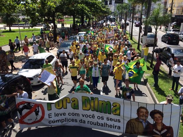 Grupo faz passeata pela orla da praia de Santos, SP (Foto: Solange Freitas / TV Tribuna)