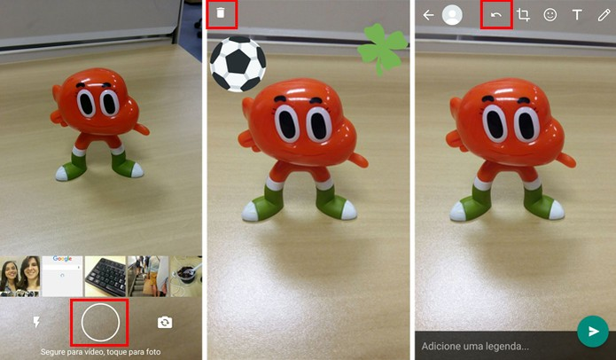 Você pode descartar stickers e desfazer ações (Foto: Reprodução/Aline Batista)