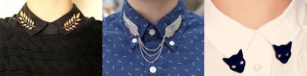 Folhas, asas ou gatinhos: customize seu colarinho com broches! (Foto: Reprodução/Pinterest)