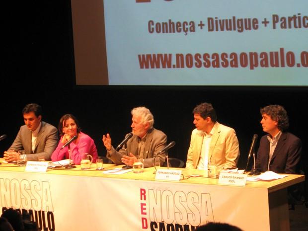 Pré-candidatos a prefeito participam de balanço de metas da Prefeitura  (Foto: Roney Domingos/ G1)