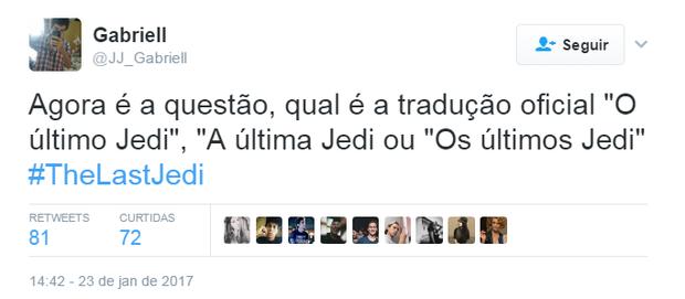 Comentários sobre o novo filme da saga Star Wars (Foto: Reprodução/Twitter)