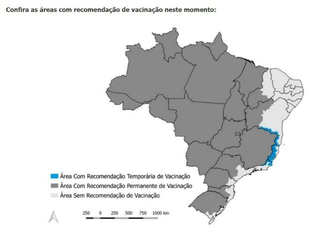 Somente seis estados brasileiros estão sem registro de febre amarela, conforme o Ministério da Saúde (Foto: Divulgação/Ministério Saúde)