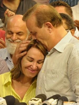 Prefeito de Goiânia, Paulo Garcia, faz primeiro discurso após reeleição (Foto: Adriano Zago/G1)