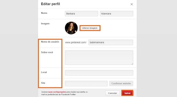 Salve as informações adicionadas no seu perfil do Pinterest (Foto: Reprodução/Barbara Mannara)