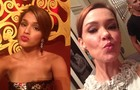 Bruna Marquezine e Julia Lemmertz vão de beijinho no 'selfie' (Foto: Em Família / TV Globo)