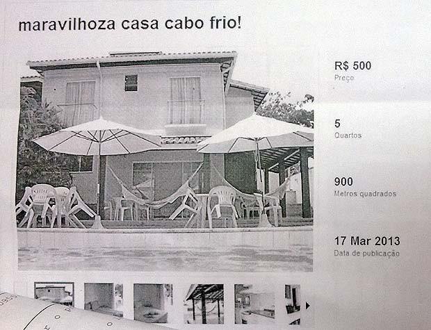 Falso anúncio casa Tatiana Bejani Juiz de Fora (Foto: Roberta Oliveira/ G1)