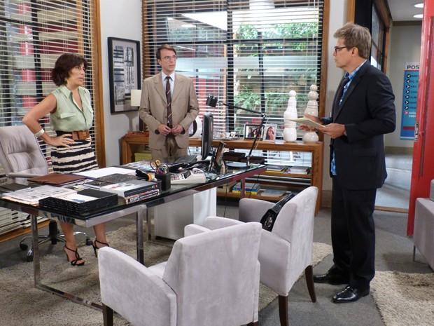 Felipe quer provar que Otávio comprou ações da Positano (Foto: Guerra dos Sexos/TV Globo)