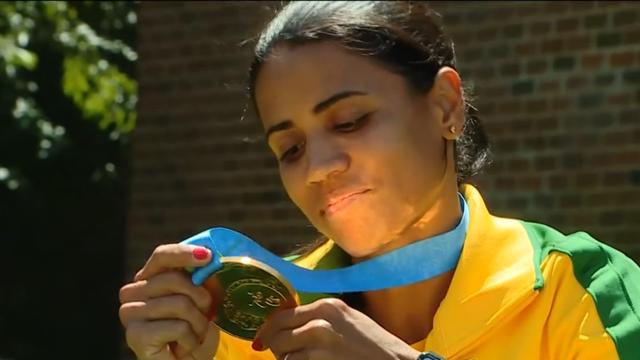 Juliana dos Santos, ouro no atletismo do Pan (Foto: Reprodução/TV Globo)
